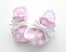 baby pink polka dots with bows - Soft Sole Baby Shoes, Booties - great gift idea!