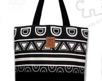 Graphic Tote, shoulder bag, Black & White, Large Canvas Bag, Laptop bag, Inner pocket, Handmade bag