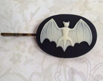 NEW! Off White on Black Bat Hair Clip
