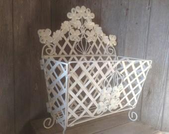 144 - Vintage -Magazine Rack - Metal - Folding -Ornate - Flower/Leaf Design - Heirloom White - Distressed