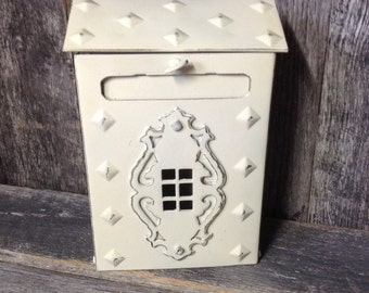 234 - Maibox - Vintage - Brass - Metal -Home Decor -Outdoor - Indoor -Ornate -Heirloom White - Distressed