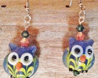 OOOO So Cute! Blue Lampwork Owls With Swarovski Crystals Earrings