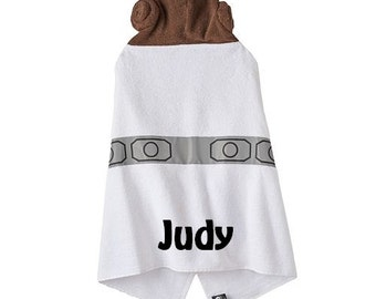 Star Wars Princess Leia Inspired Hooded Towel Bath Wrap - Personalized