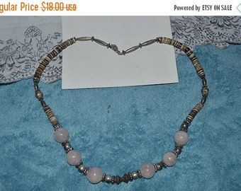 "EARLY CHRISTMAS SALE Vintage,Very Nice ""Earthy"" Rose Quartz & Tagnis Shell Necklace"