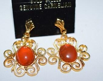 Vintage, Elegant Carnelian Filigree Earrings (1017379)