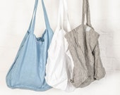 Large linen tote bag / linen beach bag / linen shopping bag