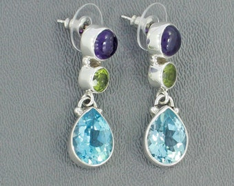 Amethyst, Peridot, Blue Topaz Multi Gemstone Earrings - Set in 925 Sterling Silver Earrings - Amethyst Stud -Filigree Earrings Stud Earrings