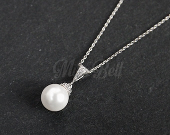 White swarovski pearl necklace, Bridesmaid gift, White pearl necklace, Wedding pearl necklace, Bridesmaid necklace, Pearl jewelry,