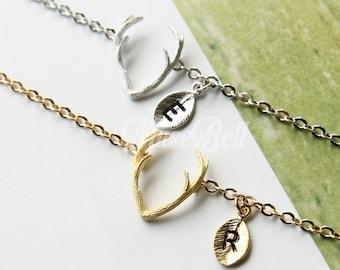 Antler bracelet, Horn bracelet, Personalized bracelet, Initial bracelet, Woodland bracelet, Forest bracelet, Winter bracelet, Gift bracelet