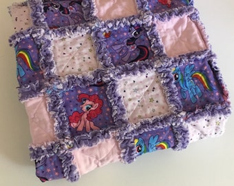 "Purple and Pink My Little Pony Rag Quilt | 32"" x 40"""