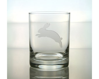 Rabbit Whisky Glass / #2 / Free Personalization / Etched Whisky Glass / Engraved Rabbit Rocks Glass / Double Old Fashioned Glass