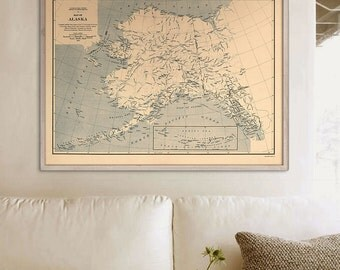 """Alaska map 1909, Vintage map of Alaska state, Old Alaska poster in 4 sizes up to 48x36"""" in beige or blue - Limited Edition of 100"""