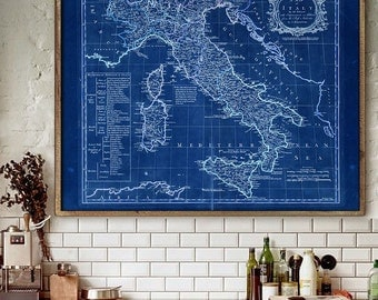 "Italy map 1777, Old map of Italy in 4 sizes up to 45x36"" (110x90cm) Large 18th century Italy map, also in blue - Limited Edition of 100"