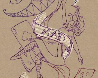 Handmade embroidered Alice in Wonderland Scarf