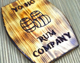 Pirate Sign, Yo Ho Rum Company with Rum Barrels , Carved Wood Sign, by The Jolly Geppetto
