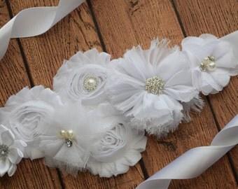 White Flower Sash,  white Sash , flower Belt, maternity sash, flower girl sash