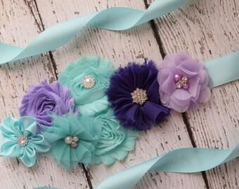 Flower Sash, aqua  , purple and lavender Sash #2 , flower Belt, maternity sash
