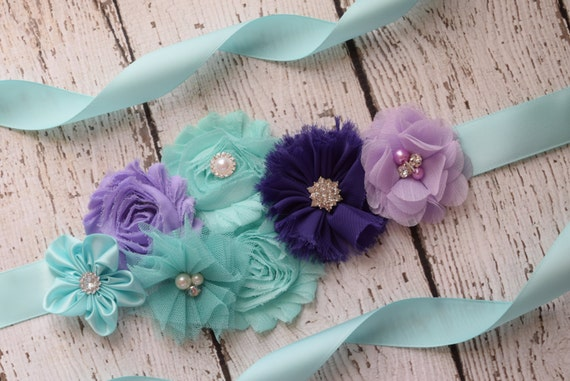 Flower Sash, aqua  , purple and lavender Sash #2 , flower Belt, maternity sash