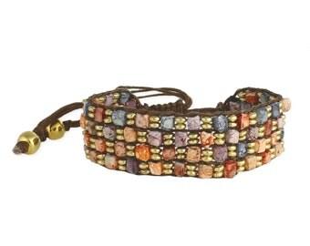 Mosaic bead cord bracelet multi bead bracelet brown cord macrame sliding knot bracelet chunky jewelry square bead boho bracelet