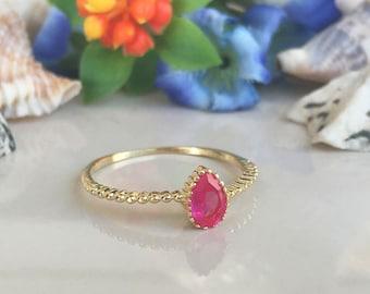 20% off-SALE!! Ruby Ring - July Birthstone - Stacking Ring - Gemstone Ring - Bezel Ring - Slim Band - Teardrop Ring - Simple Ring
