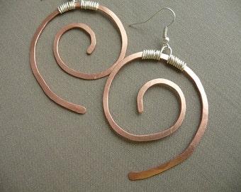 Mixed Metal Earrings Rustic Jewlery Large Copper Earrings Silver Earings Handmade Jewelry Long Earings Handcrafted Jewelry Mixed Media Metal