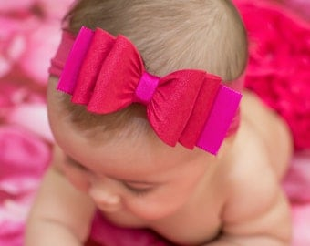 Baby Headband, Hot Pink Big Bow Headband, Pink Baby Headband, Newborn Headband, Big Bow Headband, Bow Headband, Nylon Headband, 1041