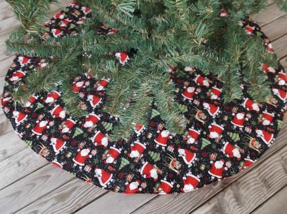 Santa christmas tree skirt decor quilted by