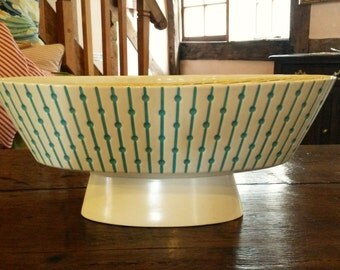 Clappison Hornsea Lines and Dots Flower Bowl 376 Cream & Turquoise 1950's