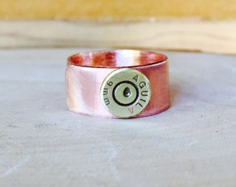 Copper bullet ring,bullet jewelry, copper jewelry,adjustable copper ring, top women's gift, jewelry women, copper rustic ring