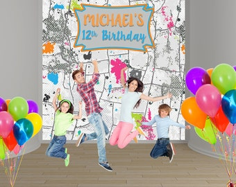 Paintball Party Personalized Photo Backdrop - Birthday Party Backdrop Birthday- Paint Splash 12th Photo Backdrop, Printed Backdrop