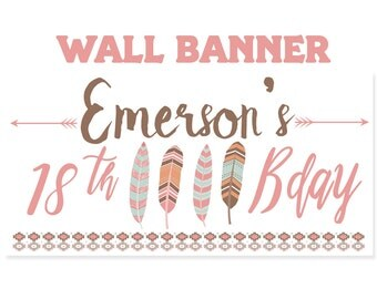 Tribal Birthday Banner  ~ 16th Birthday Personalized Party Banners -Feathers & Arrows Large Photo Banners, Printed Banners