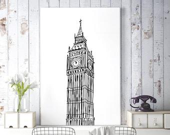 London Art, Big Ben Clock Tower, Black and White Sketch Art, London Print, Minimalist Poster, Large Printable Wall Art, Digital Download Art