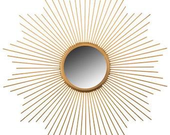 On Sale Starburst Mirror / Retro / Atomic / Mid Century Modern Decor / Gold Mirror/ MCM/ Vintage Mirror