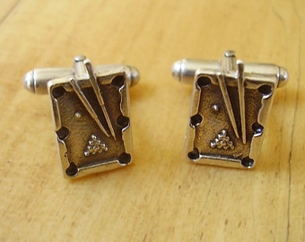 One Pair Of Sterling Silver Snooker Table Cufflinks In Presentation Box