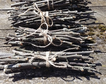 wooden sticks apple tree twigs bundle  natural branches small wands rustic home decor craft supplies primitive woodland forest witch love