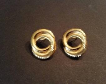 Vintage Gold Earrings Linked  Loops Costume Jewelry