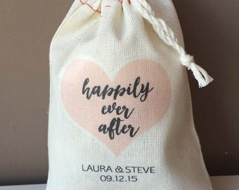 Personalized wedding favour bags - happily ever after - heart - cotton 3x4 - Set of 10