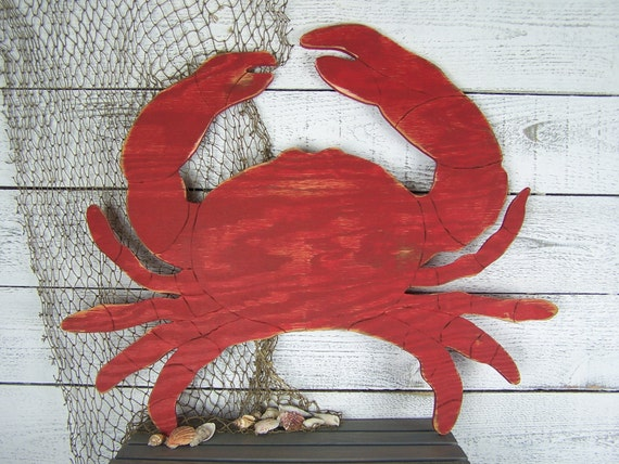 Wooden Crab Wall Decor Maryland Crab Decor Beach House Decor