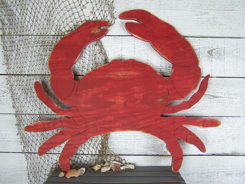 Crab sign crab wall art crab wall decor crab decor wooden crab for Crab decorations for home