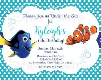 Finding Dory, Dory, Nemo, Birthday, Invitation, Kid's Birthday Party Invite, Birthday Invitation