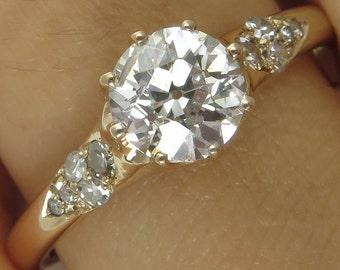 1.37ct Vintage Old European Diamond Solitaire Engagement Wedding 14k Rose Gold Ring