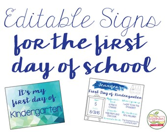 First Day of School Sign {Blue + Green Watercolor}