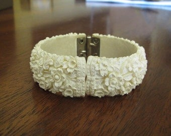 Vintage Ivory White Carved Celluloid Floral Hinged Cuff Bracelet