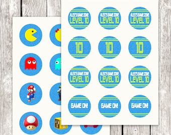 Gamer Cupcake Toppers - Video Game Party - Gamer Party Circles - Video Game Cupcake Toppers - Gamer Birthday Party - DIY Printable
