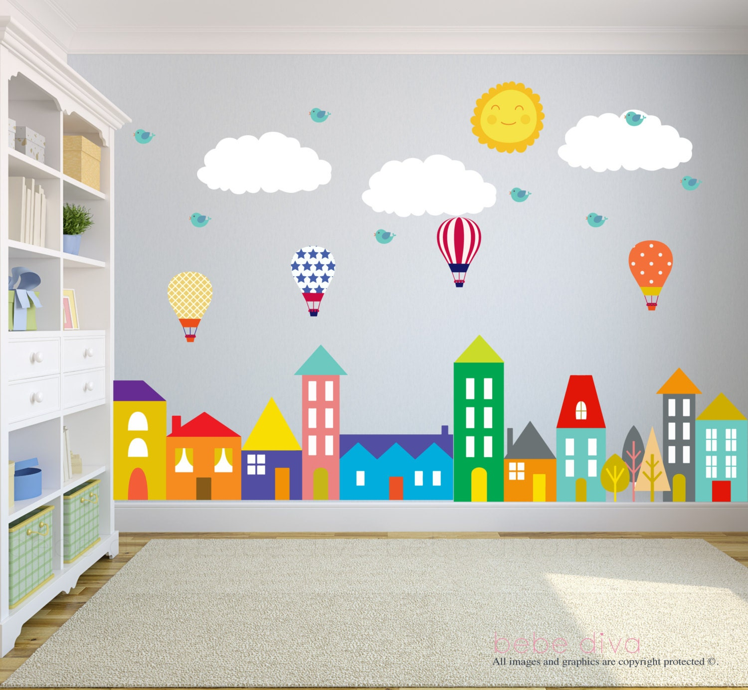 City wall decals wall decals nursery baby wall decal kids for Wall decals kids room