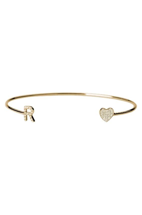 14k gold diamond initial cuff bracelet