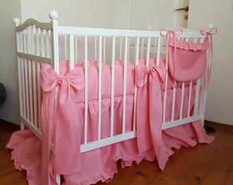 Pink crib bedding set from natural linen Crib bedding Nursery bedding Cot bedding Baby bedding