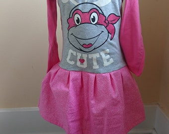 TMNT Dress - Pink Teenage Mutant Ninja Turtle Tshirt Party Dress Size 3t