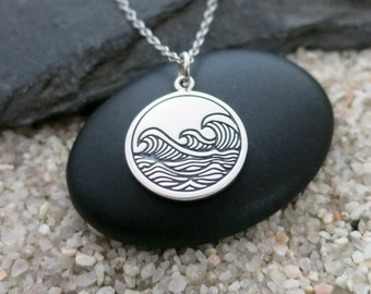 Ocean Waves Necklace, Sterling Silver Ocean Waves Charm, Beach Jewelry, Surfer Necklace