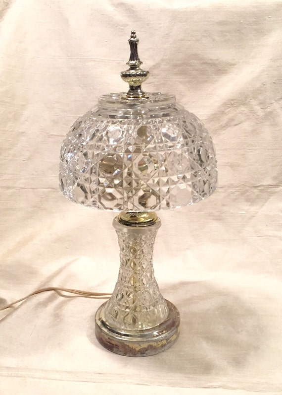Sale Vintage Lead Crystal Accent Lamp Table Lamp Hurricane